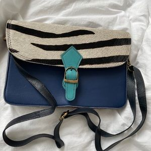 Handcrafted leather pony hair crossbody bag
